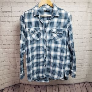 Volcom Blue Plaid Flannel Shirt y2k 90s trendy
